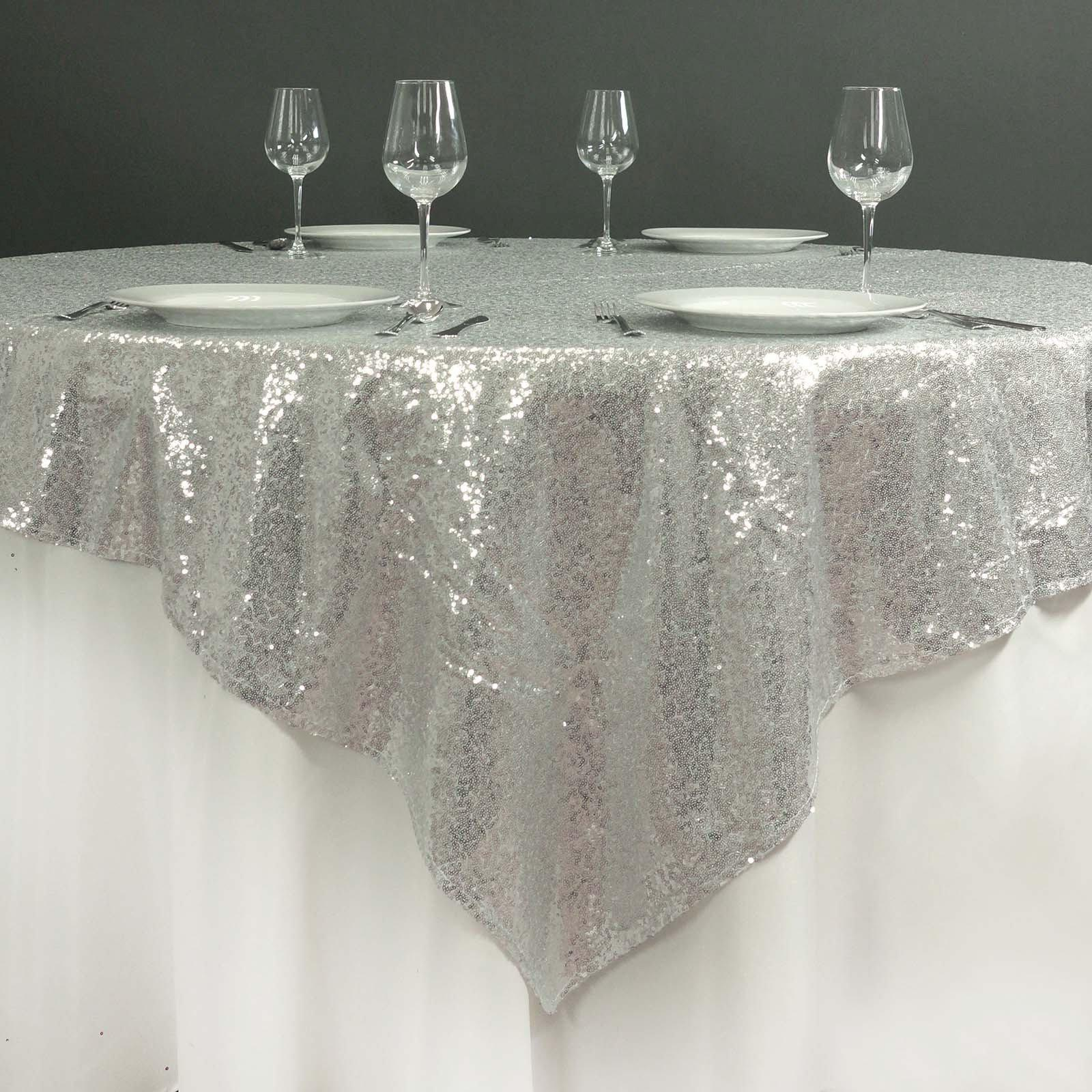 72 Quot X72 Quot Grand Duchess Sequin Table Overlays Silver