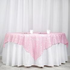 "72"" x 72"" Pink Lace Table Overlay"
