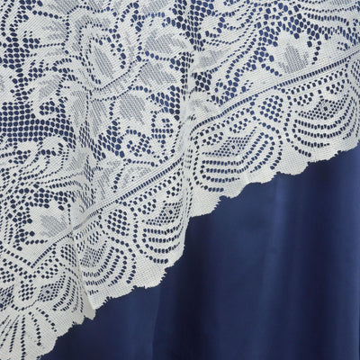 "72""x72"" Wholesale Flower Design LACE Overlay For Wedding Event Catering Party Decoration - IVORY#whtbkgd"