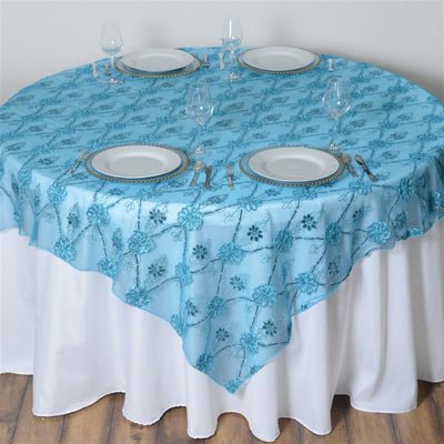 "72""x72"" Extravagant Fashionista Table Overlays - Turquoise Lace Netting"