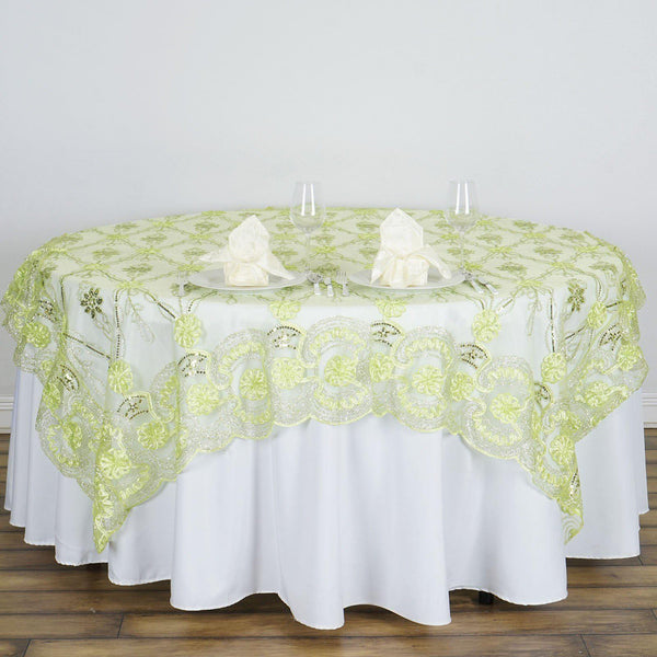 "72"" x 72"" Tea Green The Fashionista Style Table Lace Overlay - Clearance SALE"
