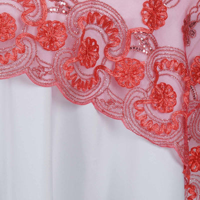 "72"" Satin Floral Design Square Overlay With Lace Netting For Wedding Catering Party Table Decorations - Coral"