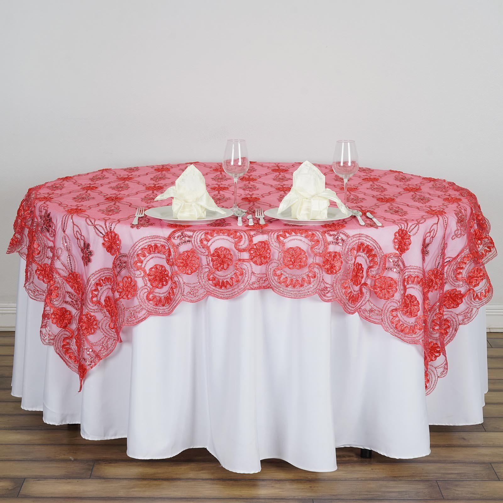 72 Satin Floral Design Square Overlay With Lace Netting For Wedding