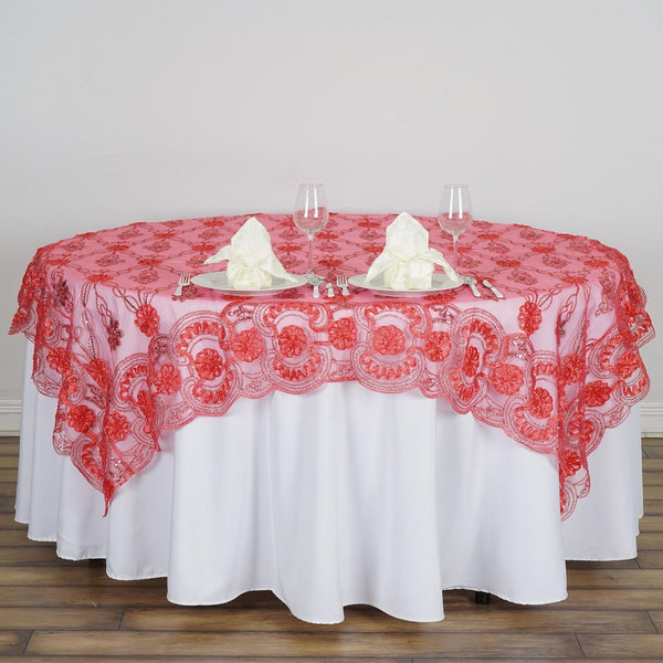 "72"" x 72"" Coral The Fashionista Style Table Lace Overlay - Clearance SALE"