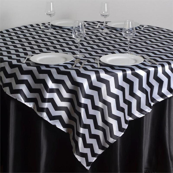 "72"" x 72"" White/Black Jazzed Up Chevron Overlay"