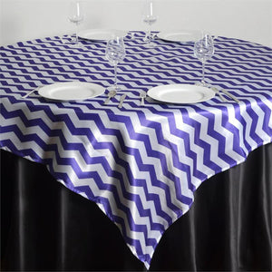 "72""x72"" Jazzed Up Chevron Table Overlays - White / Purple"