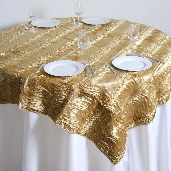 "72"" x 72"" Champagne Waves Style Satin Square Overlay - Clearance SALE"