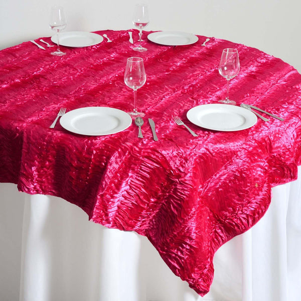 "72"" x 72"" Fushia Waves Style Satin Square Overlay - Clearance SALE"