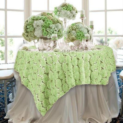 "72"" x 72"" Tea Green Satin Blossoms and Sequins on Lace Net Square Table Overlay 