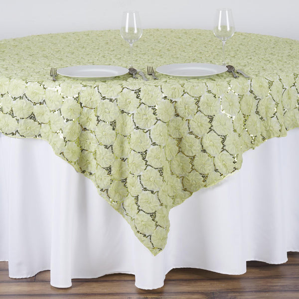 "72"" x 72"" Tea Green Satin Blossoms Table Overlay 
