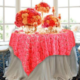 "72"" Coral Satin Blossoms and Sequins on Lace Net Square Overlay For Wedding Catering Party Table Decorations"