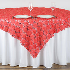 "72"" x 72"" Coral Satin Blossoms and Sequins on Lace Net Square Table Overlay 