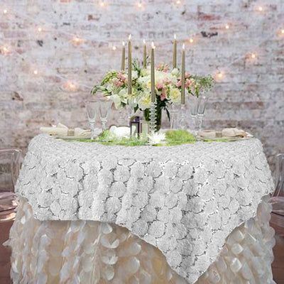 "72"" x 72"" White Satin Blossoms and Sequins on Lace Net Square Overlay"