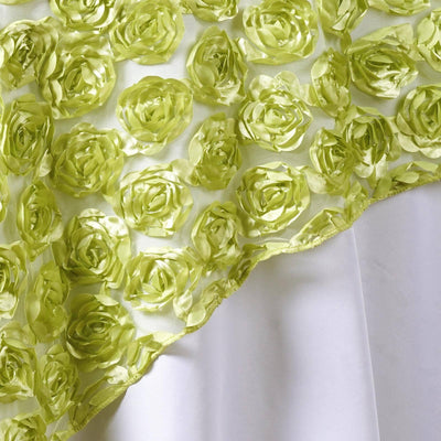 "72""x72"" TEA GREEN Lace Overlay with Rosette Flowers For Party Wedding Table Decoration"