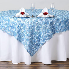 "72x72"" SERENITY BLUE Lace Overlay with Rosette Flowers For Party Wedding Table Decoration"