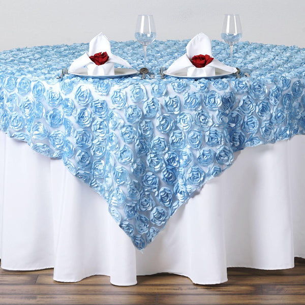"72"" x 72"" Serenity Blue Satin Rosette Lace Square Overlay"
