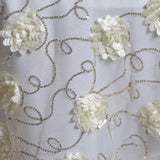 "72""x72"" Fiores & Sequins & Lace Overlay - Ivory"