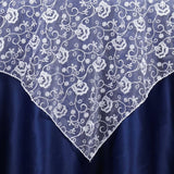 "72"" x 72"" Angelic Carnations Motif Overlay - Silver"