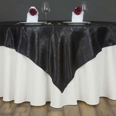 "Lily Embossed Satin Table Overlay 72"" x 72"" - Black"