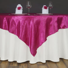 "Lily Embossed Satin Table Overlay 72"" x 72"" - Fushia"