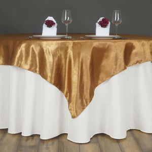 "Lily Embossed Satin Table Overlay 72"" x 72"" - Gold"