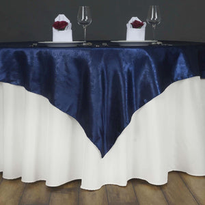 "Lily Embossed Satin Table Overlay 72"" x 72"" - Navy Blue"