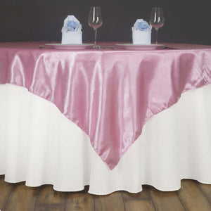 "Lily Embossed Satin Table Overlay 72"" x 72"" - Pink"