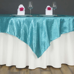 "Lily Embossed Satin Table Overlay 72"" x 72"" - Turquoise"