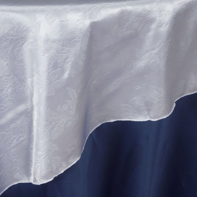 "Lily Embossed Satin Table Overlay 72"" x 72"" - White"