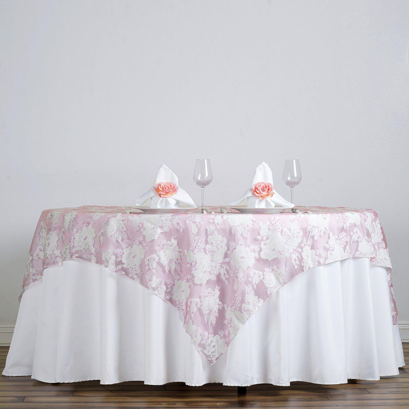 72 X 72 Pink Sheer Organza Overlay With Floral Design