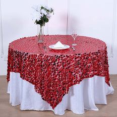 72x72 inch Red Premium Big Payette Sequin Overlay
