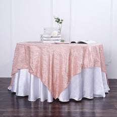 72x72 Dusty Rose Crinkle Crushed Taffeta Square Overlay