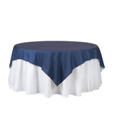 "72"" x 72"" Dark Blue Faux Denim Polyester Table Overlays"