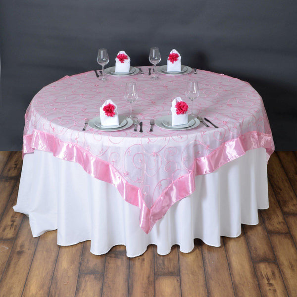"72"" x 72"" Pink Satin Edge Embroidered Sheer Organza Square Table Overlay"