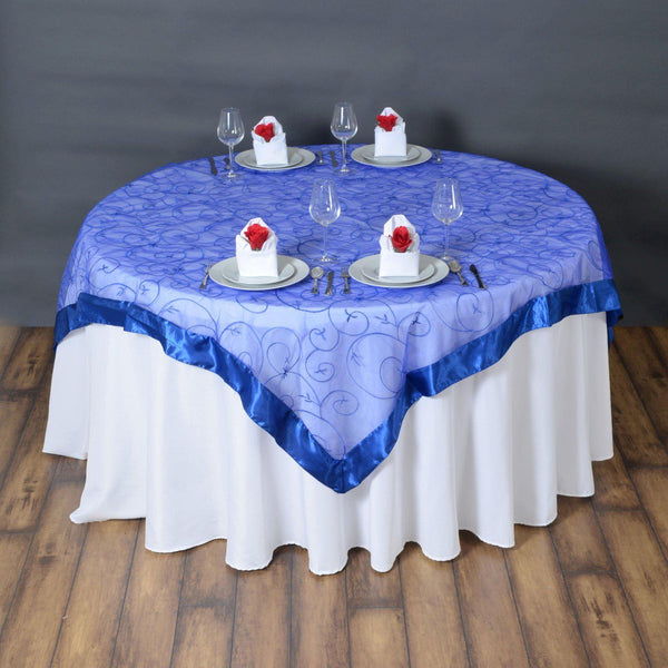"72"" x 72"" Royal Blue Satin Edge Embroidered Sheer Organza Square Table Overlay"