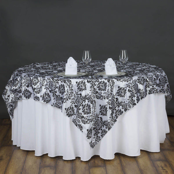 "72"" x 72"" Black Damask Flocking Tablecloth Overlay"