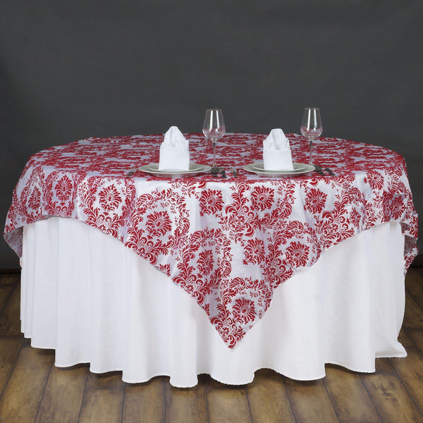 "72"" x 72"" Red Flocking Tablecloth Overlay"
