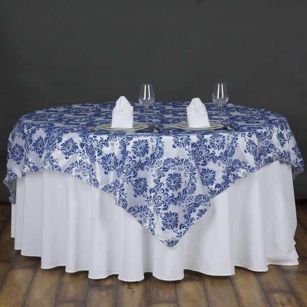 "72"" x 72"" Royal Blue Flocking Tablecloth Overlay"