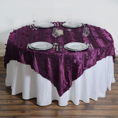 "72""x72"" Paradise Forest Taffeta Table Overlays - Eggplant"