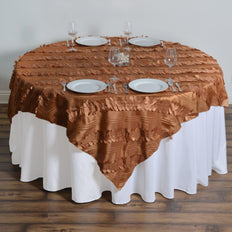 "72""x72"" Paradise Forest Taffeta Table Overlays - Gold"