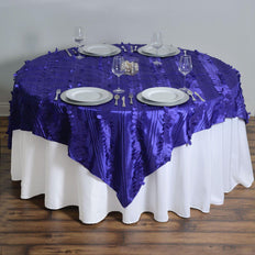 "72""x72"" Paradise Forest Taffeta Table Overlays - Purple"