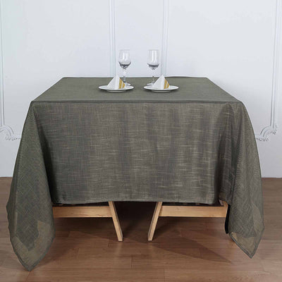 "72""x72"" Charcoal Gray Premium Faux Linen Square Overlay 
