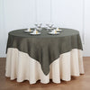 72x72 Charcoal Gray Linen Square Overlay | Slubby Textured Wrinkle Resistant Table Overlay