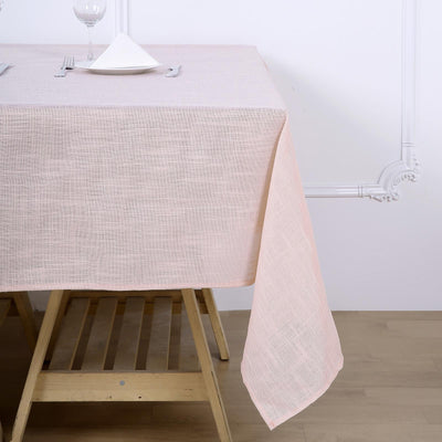 72x72 Blush/Rose Gold Linen Square Overlay | Slubby Textured Wrinkle Resistant Table Overlay