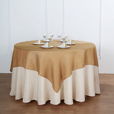 72x72 Natural Linen Square Overlay | Slubby Textured Wrinkle Resistant Table Overlay