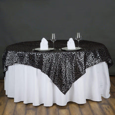 "72"" Silver / Black Animal Print Flocking Overlay"