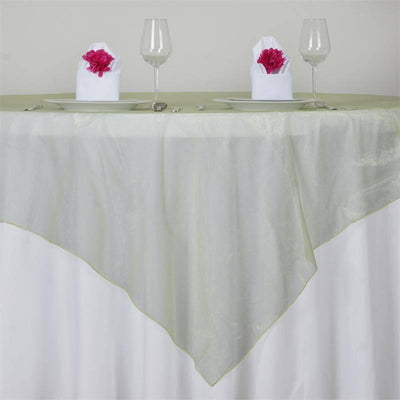 "72"" x 72"" Apple Green Square Organza Overlay"