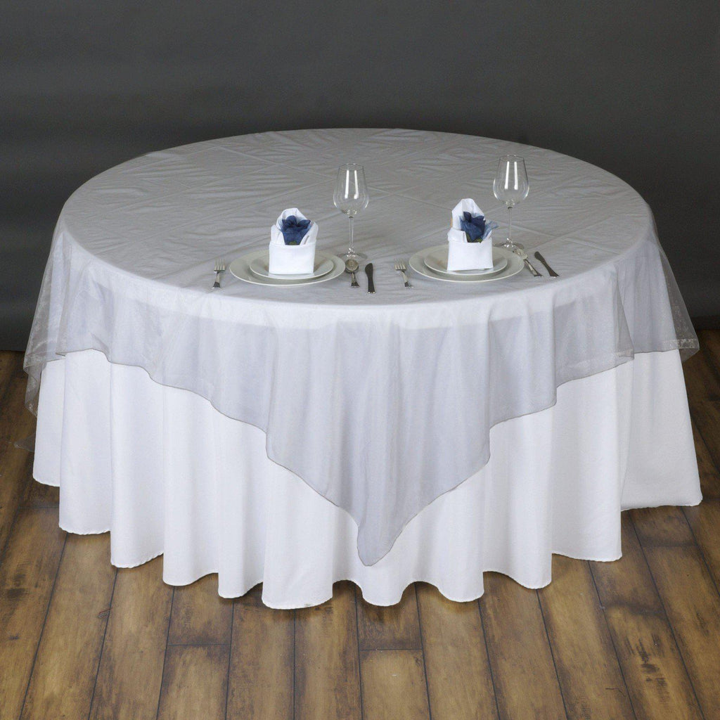 72 Quot Overlay Organza Silver Tablecloths Factory