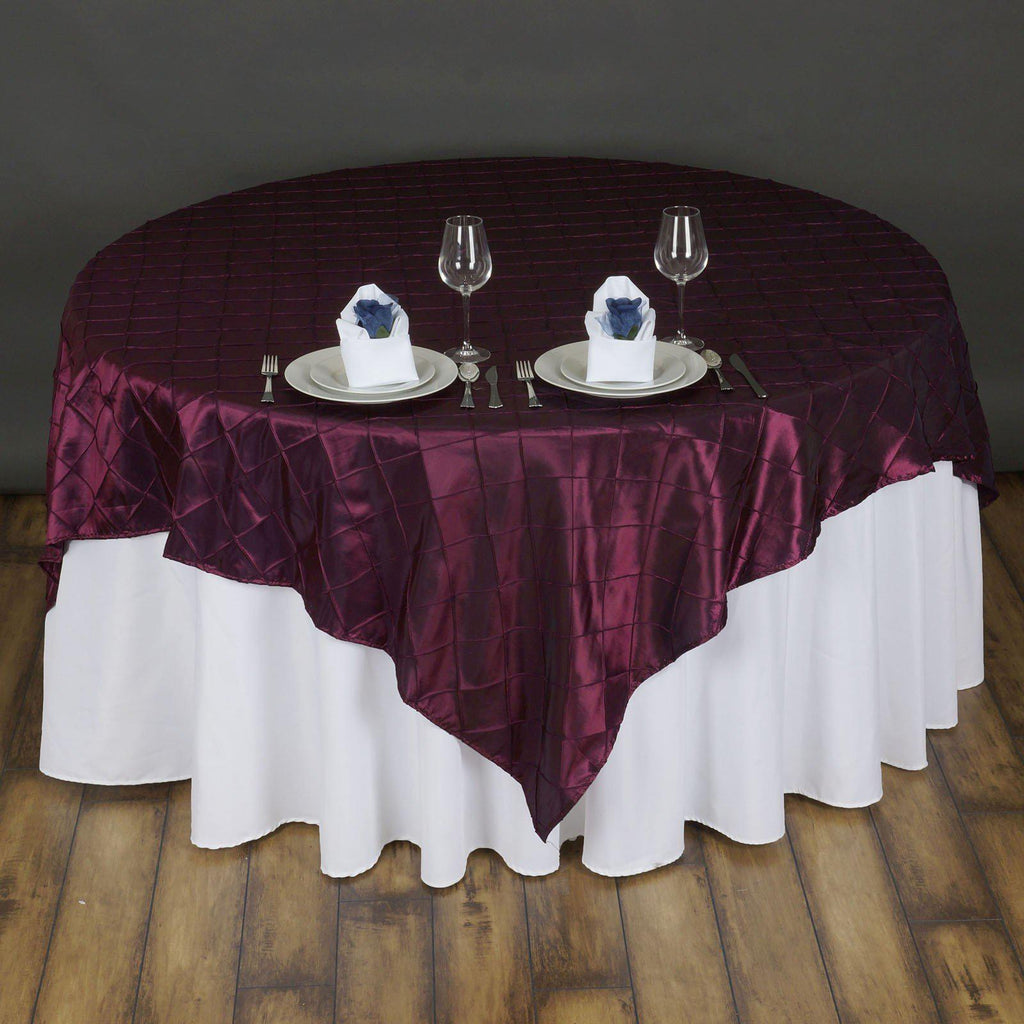 72 Quot Overlay Pintuck Burgundy Tablecloths Factory