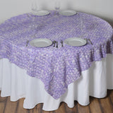 "72"" x 72"" Lavender Satin Mini Rosette Square Table Overlays 